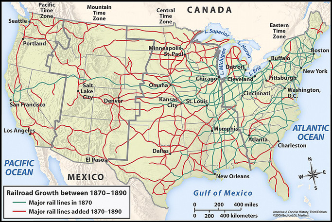 Map Of Us In 1870.U S Railroad Network Map 1870 1890 America A Concise History